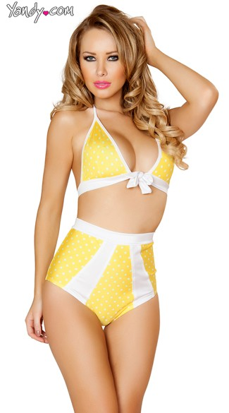 Yellow and White Tie Front Halter Top