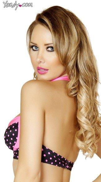 Black and Pink Pinup Halter Top
