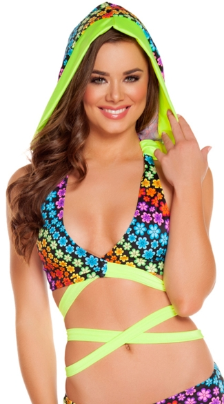 Floral Trance Wrap Around Top with Attached Hood, Wrap Around Bikini Top, Bikini with Hood