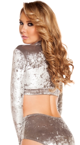 Long Sleeved Velvet Crop Top
