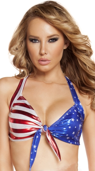 Patriotic Halter Tie Top, USA Halter Top, Red White and Blue Bikini Top