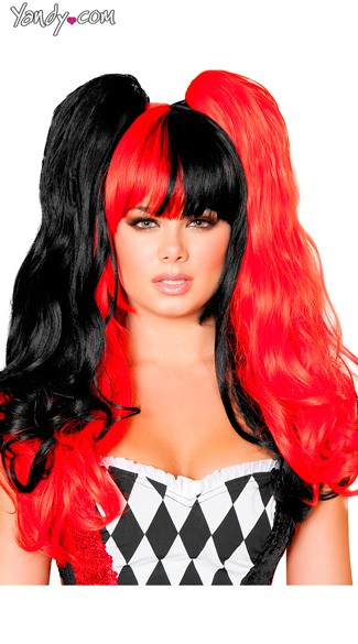 Black and Red Pigtail Wig, Black and Red Wig, Red and Black Wig, Jester Wig
