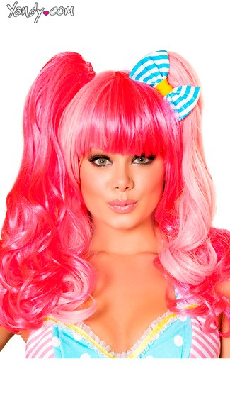 Pink Wig With Bow, Clown Costume Wig, Pink Clown Wig