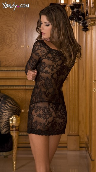 Long Sleeve Chemise Dress Set