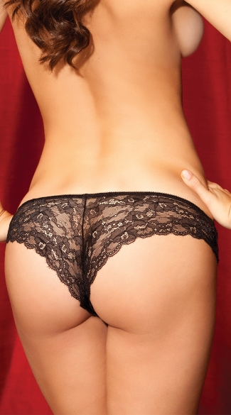 Sequin and Lace Back Tanga Panty