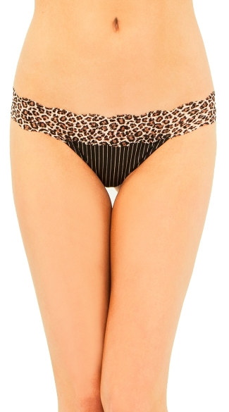 Black Leopard Lace Thong, Leopard Band Thong