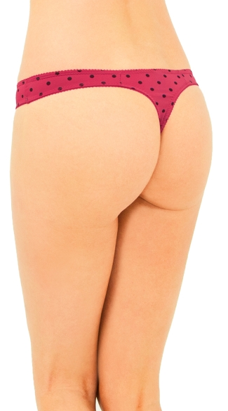 Burgundy Vintage Dots Thong