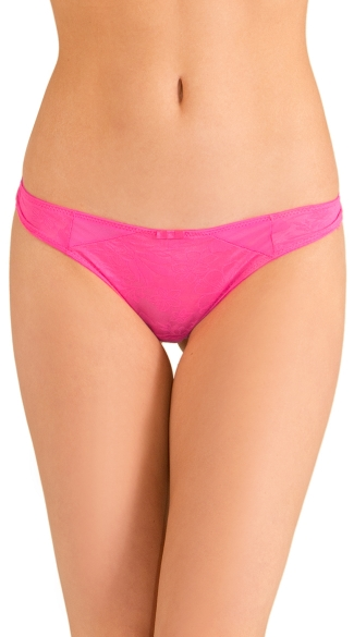 Pink Love Triangle Thong, Pink Mesh Panty