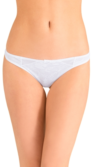 White Love Triangle Thong Panty, White Lace Thong, White Thong