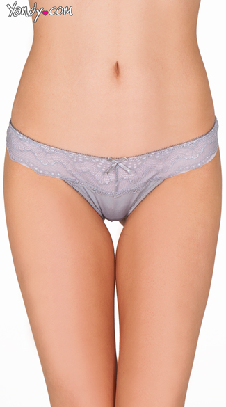 Grey Twisted Lace Thong