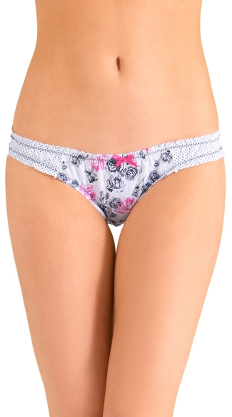 Black Roses and Dots Bikini Panty, Floral Panty, Full Back Panty