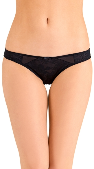 Black Love Triangle Bikini Panty, Black Lace Panty, Full Back Panty