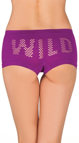 Seams Obvious Wild Hipster, Booty Shorts with Wild on Butt, Seamless Boyshorts