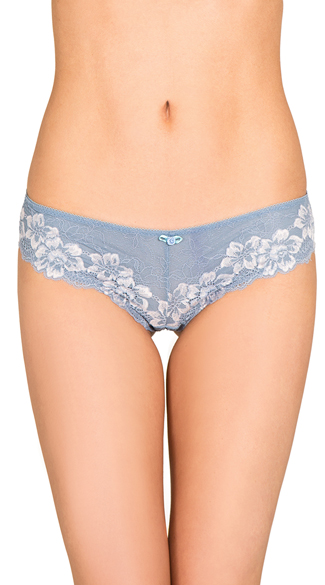 Cutting Ties Blue Hipster Panty, Lace-Up Panties, Lace Panties