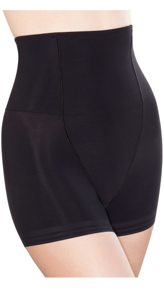 Black Control Top High Waisted Short, Black Bodyshaping Boyshort