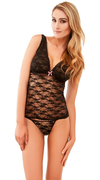 Feeling Flush Black Lace Camisole and Thong