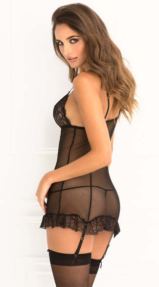 Lace Cup Garter Chemise And G-String