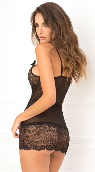 Black Lace Up Front Chemise And G-String