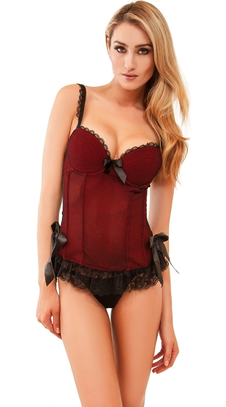 Eyes On You Lacy Bustier Top with G-String, Lace Lingerie Bustier Top, Bustier Set with Matching G-String