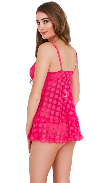 Pink Sheer Dotted Babydoll Set