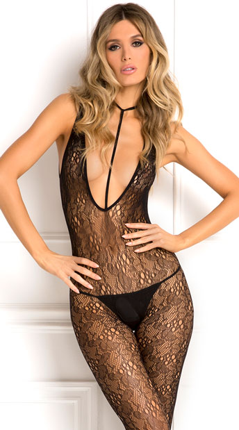 Lacy Plunge Harness Bodystocking, black lace bodystocking - Yandy.com