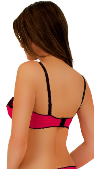 2-Way Pink and Black Lace Push Up Bra