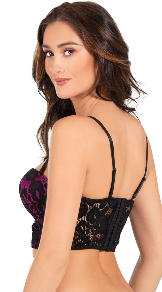 Hot Pink and Black Lace Convertible Bustier Bra