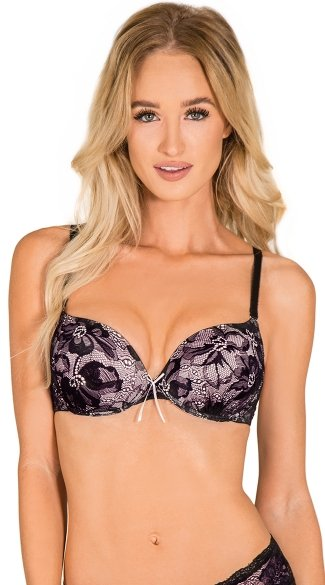 Black and Pink Shirred Thing Bra