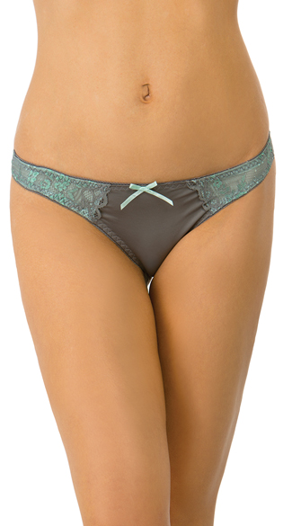 Grey and Mint Lace Gabriella Thong, Grey Thong, Solid and Lace Thong