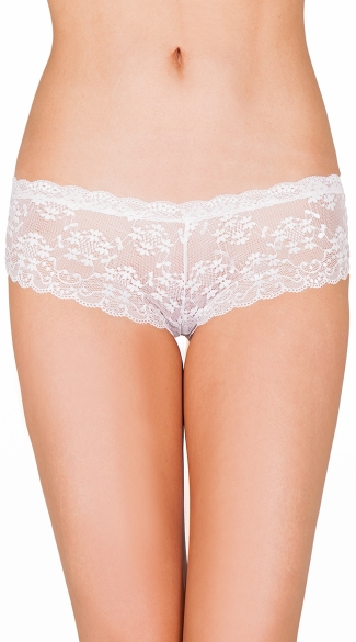 White Alone Tonight Tanga Short, White Lace Boyshorts, White Lace Tanga Shorts