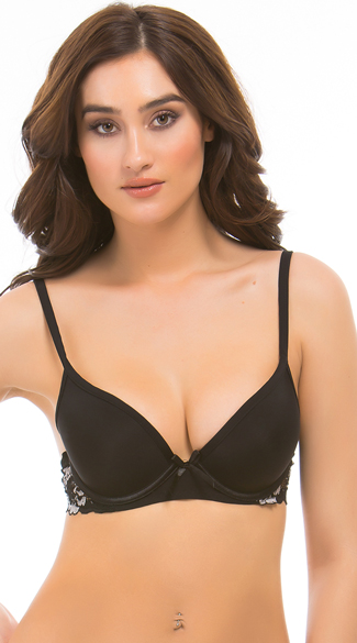 Black Belinda Demi Bra, Black Lace Bra, Smooth Black Bra