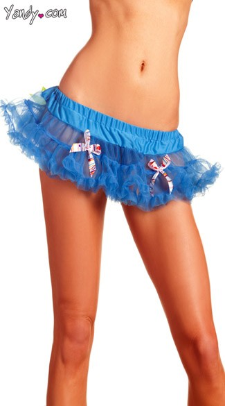 Blue Mini Petticoat With Multicolored Bows