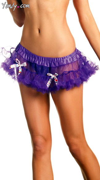 Purple Mini Petticoat With Multicolored Bows
