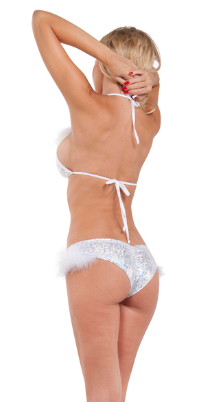 Snow Angel Silver Bikini Top with Marabou Trim