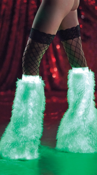 Glow In The Dark Furry Boot Covers, Glow in the Dark Furry Legwarmers