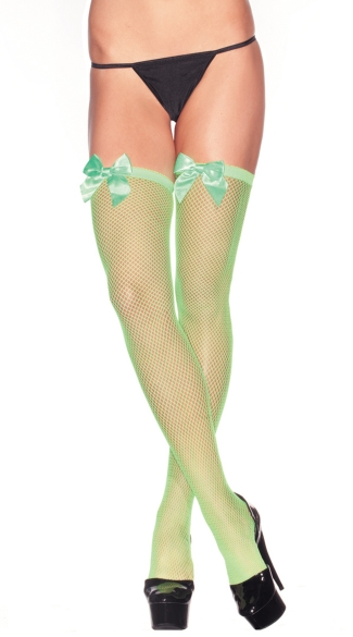 Neon Fishnet Thigh Highs With Satin Bows