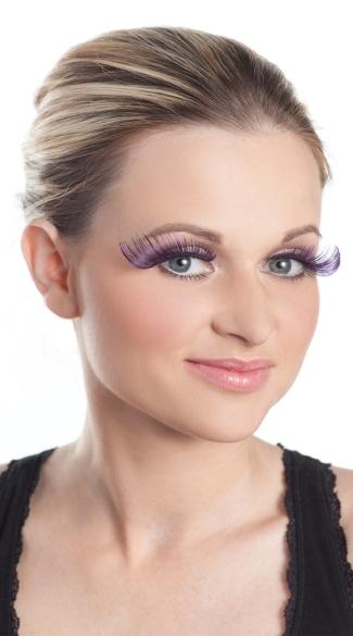 Purple Eyelashes, Curled Eyelashes, Extra Long False Lashes