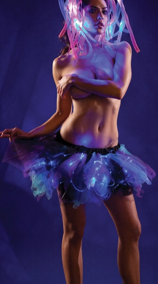 Blue and Purple Light Up Petticoat, Light Up Rave Skirt, Glow In The Dark Skirt