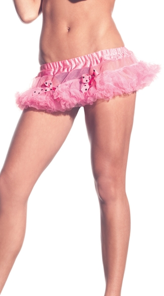 Mini Petticoat Skirt with Bows, Tutus for Women, Pink Petticoat Skirt