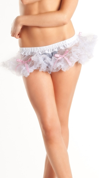 White Mini Petticoat with Bows, White Petticoat Skirt, Short White Petticoat