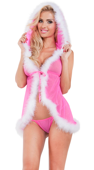 Christmas Tease Hooded Chemise