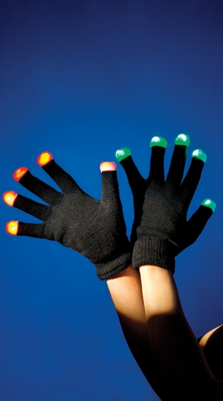 Multicolored Light Up Fingertip Black Gloves