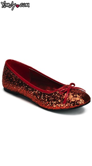 Red Glitter Flat Shoes, Red Glitter Shoes, Dorothy Costume Shoes