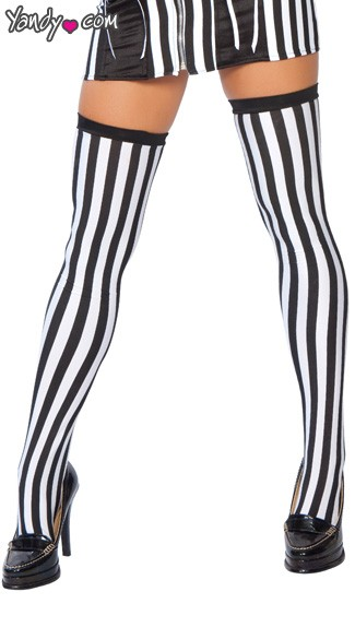 Referee Stockings, Referee Costume Stockings, Verticle Stripe Stockings