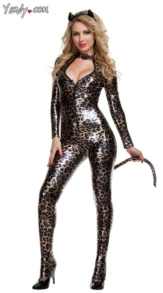 Deluxe Wildcat Costume, Deluxe Catsuit Costume, Animal Print Cat Suit