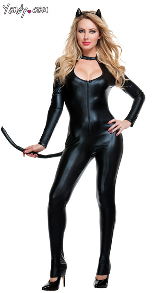 Sexy Black Cat Costume, Black Cat Bodysuit, Klepto Kat Costume