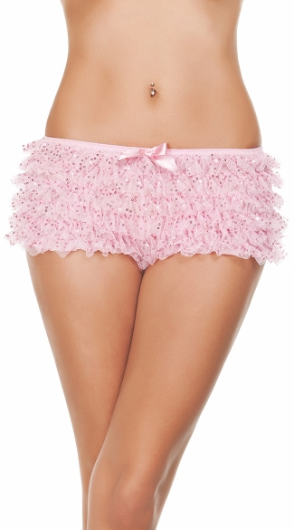 Ruffled Sequin Hot Shorts,Mini Shorts, Short Shorts For Women