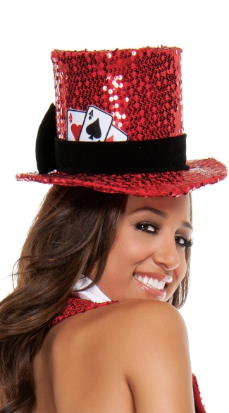 Texas Hold Her Hat, Red Sequin Hat, Red Costume Hat