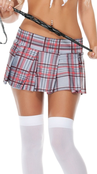 Short Plaid School Girl Skirt