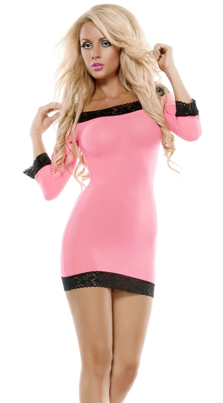 Long Sleeve Chemise with Black Lace Trim